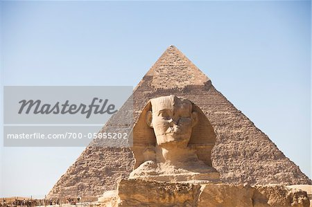 Sphinx and Great Pyramid of Giza, Cairo, Egypt Stock Photo - Rights-Managed, Image code: 700-05855202