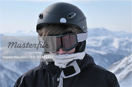 Portrait of Boy Skiing, La Foux d'Allos, Allos, France Stock Photo - Rights-Managed, Image code: 700-05855251