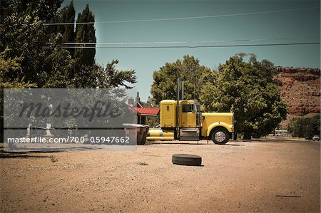 Transport Truck and Tire, Fredonia, Coconino County, Arizona Stock Photo - Rights-Managed, Image code: 700-05947662
