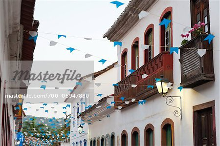 Flags and Buildings, Paraty, Rio de Janeiro, Brazil Stock Photo - Rights-Managed, Image code: 700-05947880