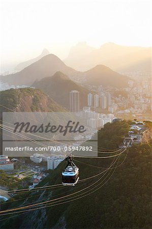 Rio de Janeiro and Tram as seen from Sugarloaf Mountain, Rio de Janeiro, Brazil Stock Photo - Rights-Managed, Image code: 700-05947892