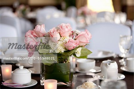 Roses in Vase on Table at Wedding Reception Stock Photo - Rights-Managed, Image code: 700-05948021