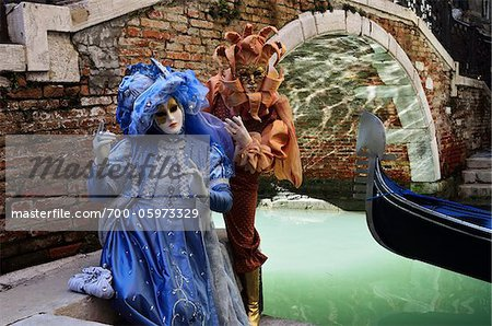 Two People Wearing Costumes During Carnival, Venice, Italy Stock Photo - Rights-Managed, Image code: 700-05973329