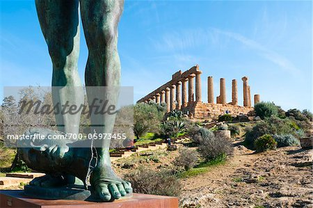 Temple of Juno and Gambe Alate Sculpture, Valley of the Temples, Agrigento, Sicily, Italy Stock Photo - Rights-Managed, Image code: 700-05973455