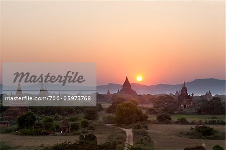 Temples at Sunset from Shwesandaw Pagoda, Bagan, Myanmar Stock Photo - Rights-Managed, Image code: 700-05973768