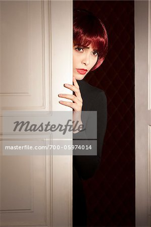 Woman Peeking Around Door - Stock Photo & Woman Peeking Around Door - Stock Photo - Masterfile - Rights ... Pezcame.Com