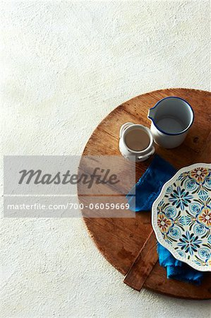 Mediterranean Themed Dishes on Wooden Cutting Board Stock Photo - Rights-Managed, Image code: 700-06059669