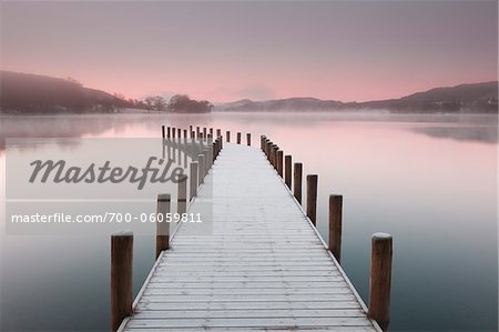Frost Covered Dock on Misty Morning, Lake District National Park, Cumbria, England Stock Photo - Rights-Managed, Image code: 700-06059811