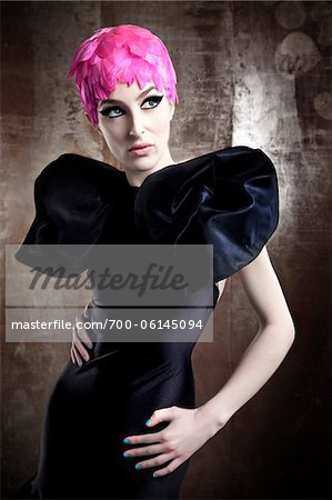 Portrait of Woman Wearing Black Dress and Pink Wig Stock Photo - Rights-Managed, Image code: 700-06145094