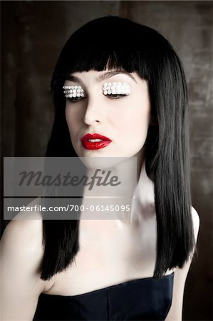 Portrait of Woman with Pearls on Eyelids Stock Photo - Rights-Managed, Image code: 700-06145095