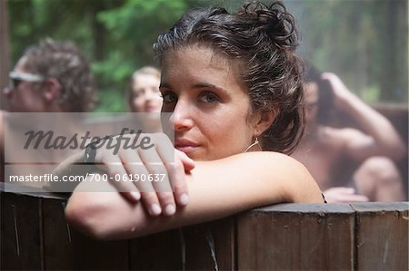 Young Woman in Hot Tub with Friends Stock Photo - Rights-Managed, Image code: 700-06190637