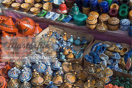 Pottery for Sale in the Kasbah, Chefchaouen, Chefchaouen Province, Tangier-Tetouan Region, Morocco