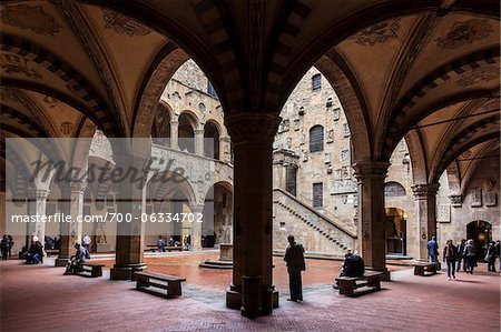 Inner Courtyard of Bargello Museum, Florence, Tuscany, Italy Stock Photo - Rights-Managed, Image code: 700-06334702