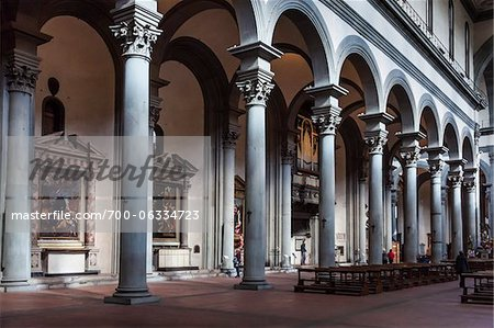 Interior of Santo Spirito Basilica, Florence, Tuscany, Italy Stock Photo - Rights-Managed, Image code: 700-06334723