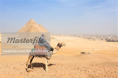 Man on Camel in front of Great Pyramids at Giza, Egypt Stock Photo - Rights-Managed, Image code: 700-06355303