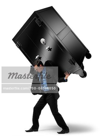 Businessman Carrying Large Safe on his Back Stock Photo - Rights-Managed, Image code: 700-06368050