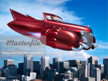 Woman Flying Jet Car over City Stock Photo - Rights-Managed, Image code: 700-06368055