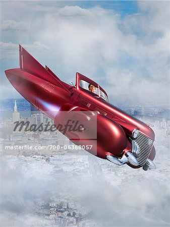 Woman Flying Jet Car over City Stock Photo - Rights-Managed, Image code: 700-06368057