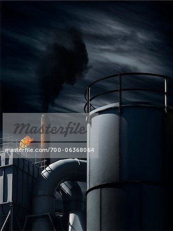 Industrial Building at Night Stock Photo - Rights-Managed, Image code: 700-06368064