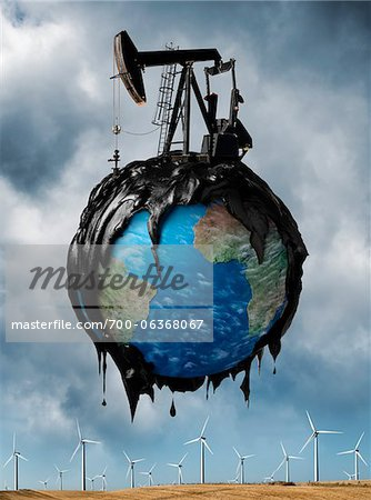 Oil Covered Globe Hovering over Wind Farm Stock Photo - Rights-Managed, Image code: 700-06368067