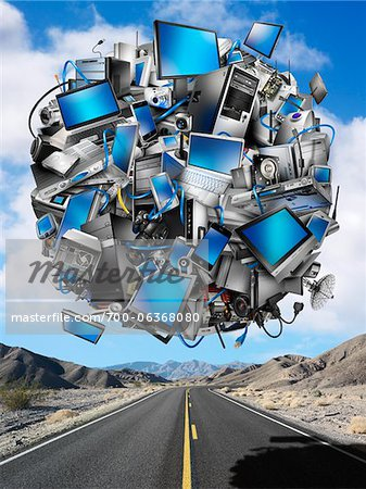 Sphere of Digital Devices Floating Above Desert Highway Stock Photo - Rights-Managed, Image code: 700-06368080