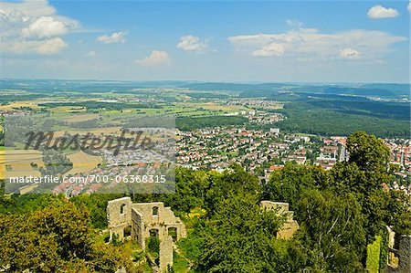 View of Singen and Hegau from Hohentwiel Castle, Hohentwiel, Singen, Baden-Wurttemberg, Germany Stock Photo - Rights-Managed, Image code: 700-06368315