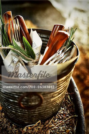 Cuttlery in Vintage Container Stock Photo - Rights-Managed, Image code: 700-06383012