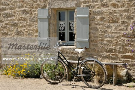 Bicycle Parked by Window and Bench Stock Photo - Rights-Managed, Image code: 700-06383061