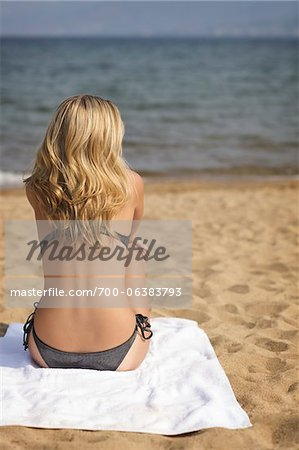 Rear View of Woman on Beach Stock Photo - Rights-Managed, Image code: 700-06383793