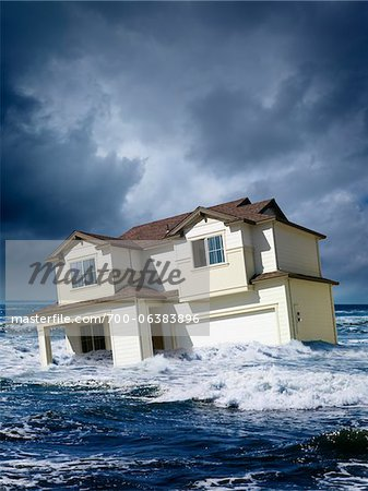 House Floating in Middle of Ocean Stock Photo - Rights-Managed, Image code: 700-06383896
