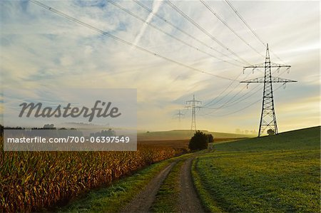 Country Road Running Between Farmland and Power Line, near Villingen-Schwenningen, Baden-Wurttemberg, Germany Stock Photo - Rights-Managed, Image code: 700-06397549