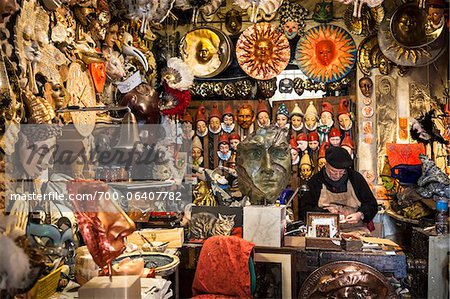 Mask Maker in Shop, Florence, Tuscany, Italy Stock Photo - Rights-Managed, Image code: 700-06407782