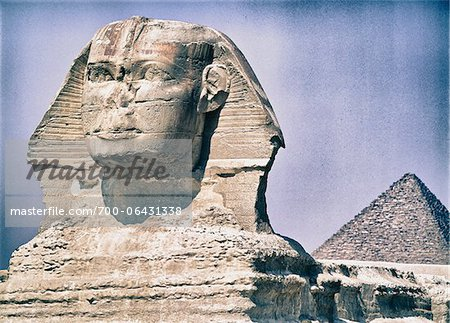 Close-up of Sphinx with Pyramid of Khufu in Background, Giza, Egypt Stock Photo - Rights-Managed, Image code: 700-06431338