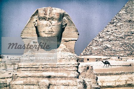 Close-up of Sphinx with Pyramid of Khafre in Background, Giza, Egypt Stock Photo - Rights-Managed, Image code: 700-06431340