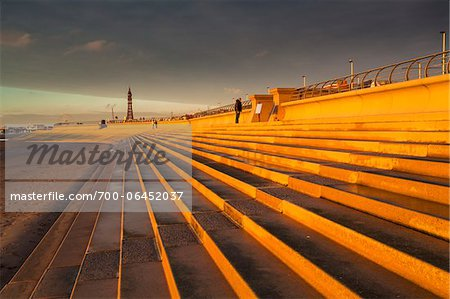 Seafront Steps and Defenses with Blackpool Tower in Background at Dusk, Blackpool, Lancashire, England