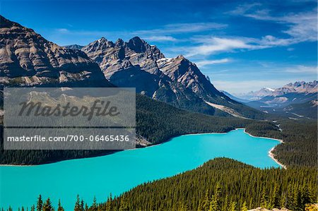 Overview of Peyto Lake as seen from Bow Summit, Banff National Park, Alberta, Canada Stock Photo - Rights-Managed, Image code: 700-06465436