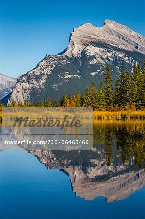 Reflection of Mount Rundle in Vermilion Lakes, near Banff, Banff National Park, Alberta, Canada Stock Photo - Rights-Managed, Image code: 700-06465466