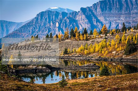 Rock Isle Lake in Autumn with Mountain Range in Background, Mount Assiniboine Provincial Park, British Columbia, Canada Stock Photo - Rights-Managed, Image code: 700-06465480