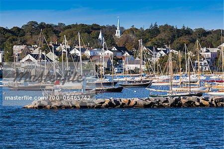 Sailboats in Marina with Town in Background, Vineyard Haven, Tisbury, Martha's Vineyard, Massachusetts, USA Stock Photo - Rights-Managed, Image code: 700-06465742
