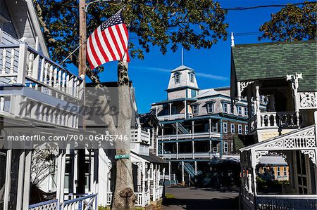 Wesley Hotel and Cottages, Wesleyan Grove Historical Area, Oak Bluffs, Martha's Vineyard, Massachusetts, USA Stock Photo - Rights-Managed, Image code: 700-06465746