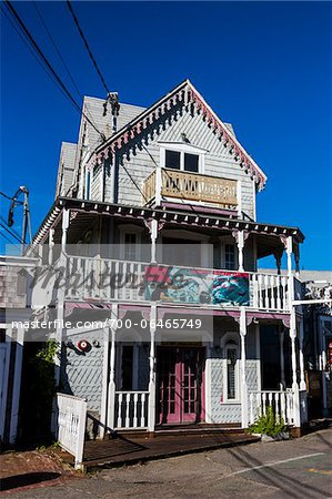 House Exterior with Shark Tour Banner on Balcony, Wesleyan Grove, Camp Meeting Association Historical Area, Oak Bluffs, Martha's Vineyard, Massachusetts, USA Stock Photo - Rights-Managed, Image code: 700-06465749