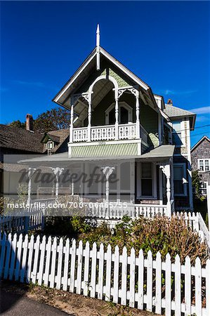 House Exterior with White Picket Fence, Wesleyan Grove, Camp Meeting Association Historical Area, Oak Bluffs, Martha's Vineyard, Massachusetts, USA Stock Photo - Rights-Managed, Image code: 700-06465755