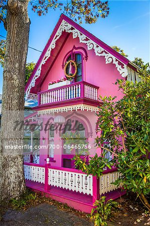Bright Pink House, Wesleyan Grove, Camp Meeting Association Historical Area, Oak Bluffs, Martha's Vineyard, Massachusetts, USA Stock Photo - Rights-Managed, Image code: 700-06465756