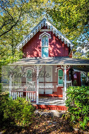 Quaint Red House with Porch Surrounded by Trees and Shrubs, Wesleyan Grove, Camp Meeting Association Historical Area, Oak Bluffs, Martha's Vineyard, Massachusetts, USA Stock Photo - Rights-Managed, Image code: 700-06465758