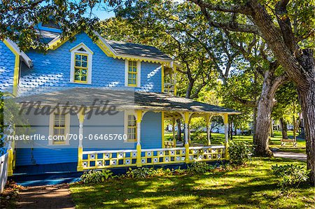 Exterior of Blue and Yellow House, Wesleyan Grove, Camp Meeting Association Historical Area, Oak Bluffs, Martha's Vineyard, Massachusetts, USA Stock Photo - Rights-Managed, Image code: 700-06465760
