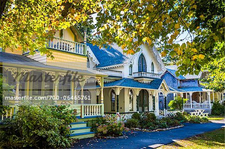 Row of Cottages in Wesleyan Grove, Camp Meeting Association Historical Area, Oak Bluffs, Martha's Vineyard, Massachusetts, USA Stock Photo - Rights-Managed, Image code: 700-06465761