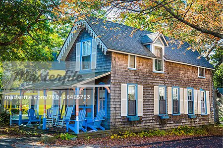 Cottage with Chairs on Porch, Wesleyan Grove, Camp Meeting Association Historical Area, Oak Bluffs, Martha's Vineyard, Massachusetts, USA Stock Photo - Rights-Managed, Image code: 700-06465763