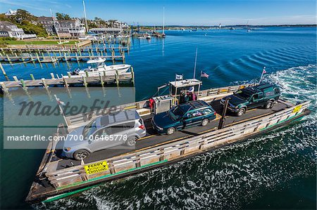 Aerial View of Car Ferry Approaching Dock, Edgartown, Dukes County, Martha's Vineyard, Massachusetts, USA Stock Photo - Rights-Managed, Image code: 700-06465778