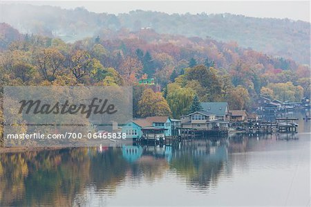 Waterfront Homes on Lake Seneca in Fog, Watkins Glen, Schuyler County, New York State, USA Stock Photo - Rights-Managed, Image code: 700-06465838