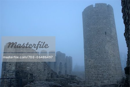 Ruins of Wolfstein Castle in Fog, Wolfstein, near Neumarkt in der Oberpfalz, Bavaria, Germany Stock Photo - Rights-Managed, Image code: 700-06486497